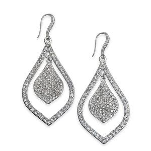 Silver Crystal Pavé Double Teardrop Drop Earrings
